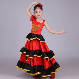 Image 4 - Crianças meninas vestido de dança do ventre vermelho espanhol flamenco traje de salão de baile vestido tribal com cabeça flor