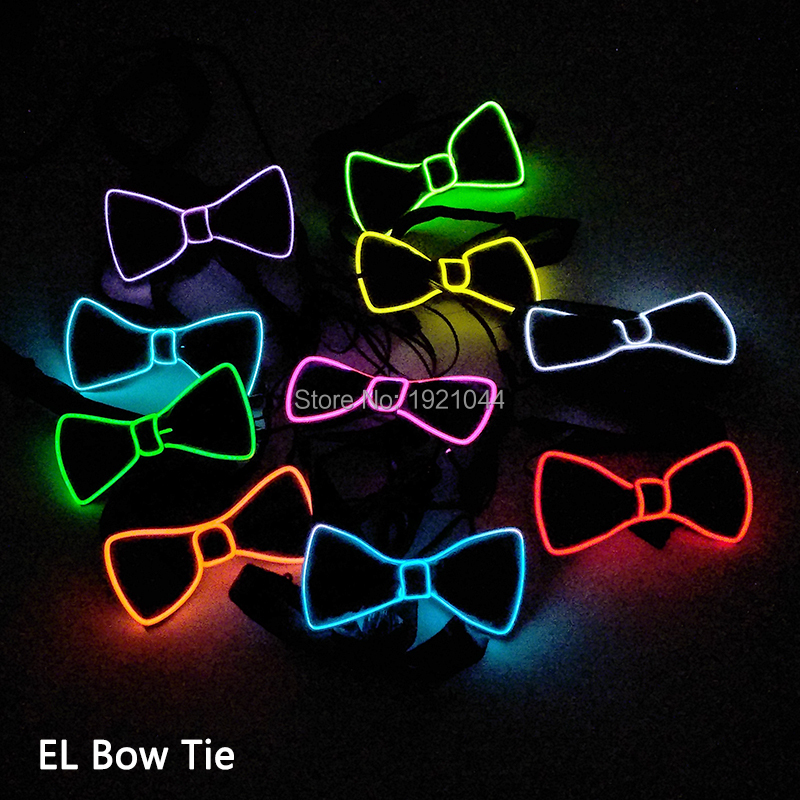 New EL Wire Bow Tie Colorful Flashing Bow Tie with 3V Steady on Flashing Inverter for Glow Wedding Party Decoration