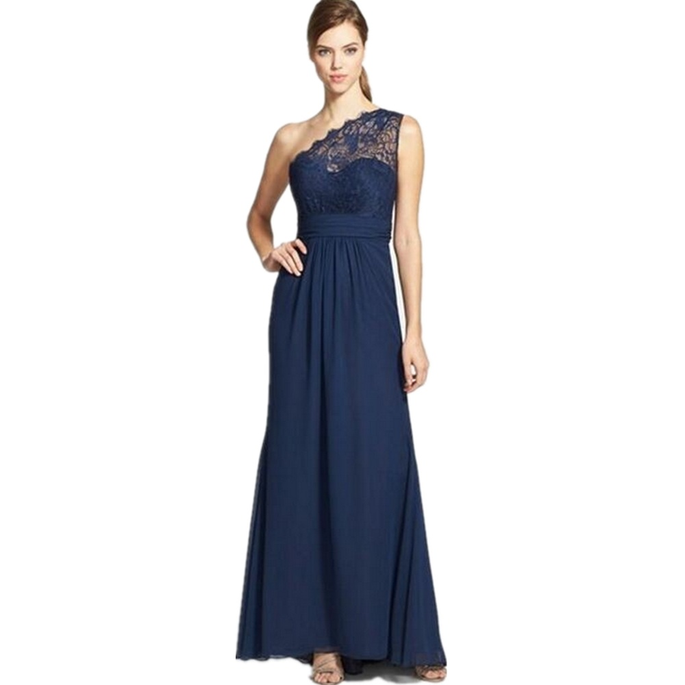 New fashion floor length special navy blue chiffon a line for Navy blue dresses for weddings