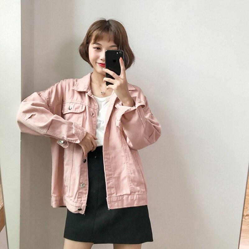 Solid Turn-down Collar Jean Jacket For Women Loose Casual White Fashionable Women Coats Female Outwear Denim Feminine