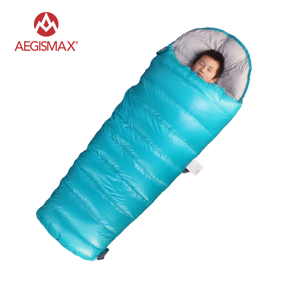 AEGISMAX Children Envelope 95 Sleeping bags White Goose Down for Kids Camping Blue Pink