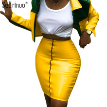Sedrinuo Womens Two Piece Sets 2019 PU Leather Tracksuits Crop Tops and Skirt Zipper Front Sexy Long Sleeve Outfits