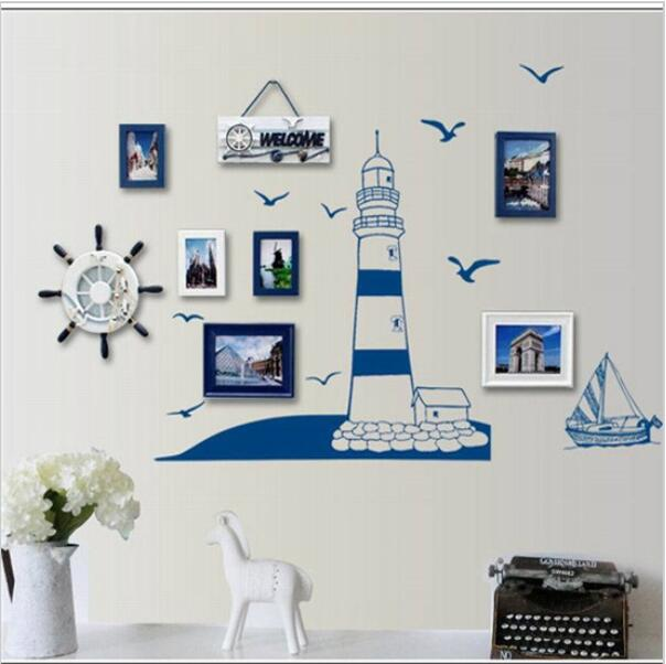 blue ocean lighthouse seagull photo frame diy wall stickers home nautical decor wall art bedroom living - Ocean Home Decor