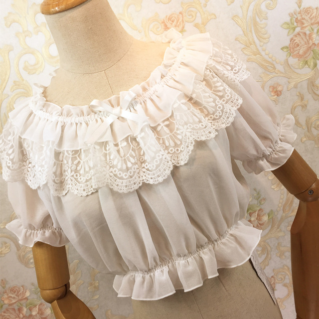 2016 New Women Tube Top Loyal Princess Lace Embroidery Ruffled Puff Sleeve Ruffle Basic Vintage Tube Tops White Black Pink Red