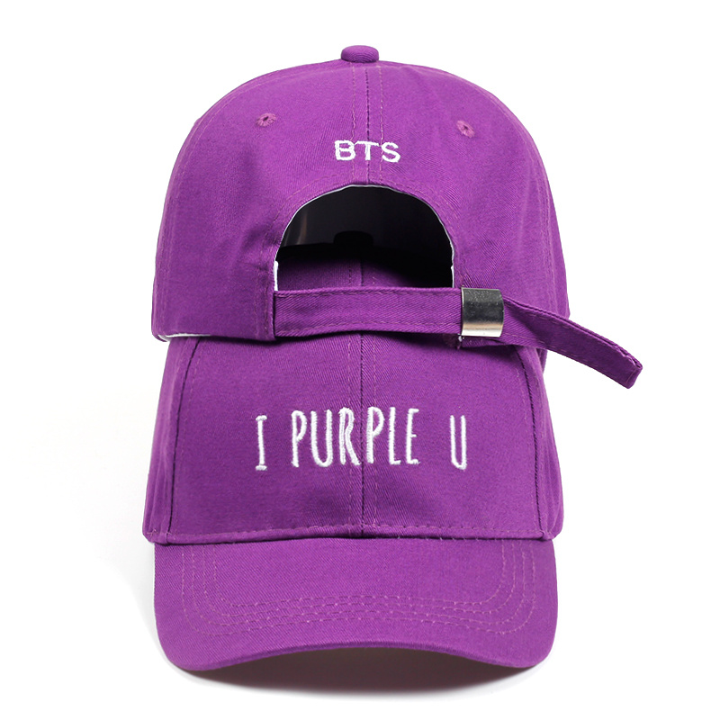 Hot selling 2018 live BTS V Fashion K POP I PURPLE U LETTER dad Hats adjustable   Baseball     cap   bone high quality golf   cap   hats