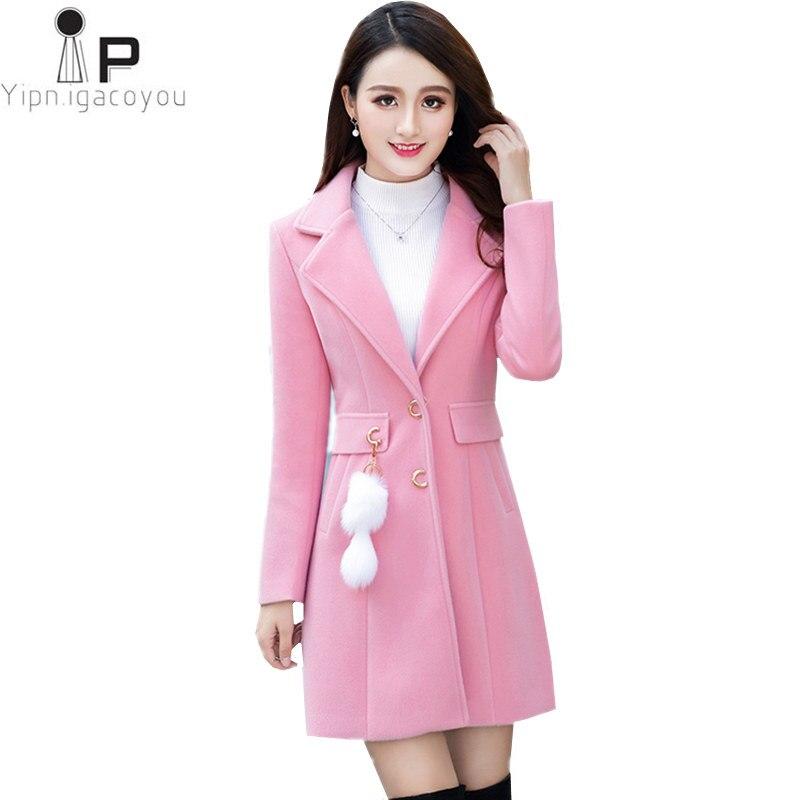 Long Faux De Laine Manteau D'hiver Femmes Manteaux 2018 Coréenne Grand taille Rose Chaud Femme Laine Manteau Pardessus Harajuku Automne Femmes veste