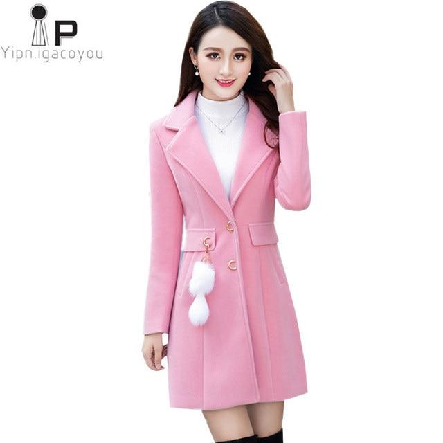 2cd0800b09 ... Feminino Sobretudo Harajuku Outono jaqueta. Long Faux Woolen Coat  Winter Women Coats 2018 Korean Big Size Pink Warm Female Wool Coat