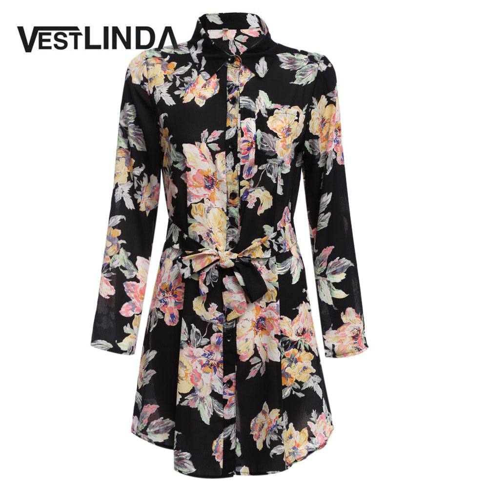 AZULINA Retro Style Shirt Dresses Women New Vestido Turn Down Collar Casual Dresses With Belt Floral
