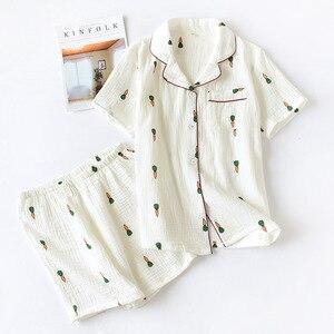 Image 4 - שכבה כפולה כותנה גזה קרפ קצר שרוול מכנסי פיג מה לנשים בתוספת גודל פיג Cartoon הדפסת הלבשת בגדי בית