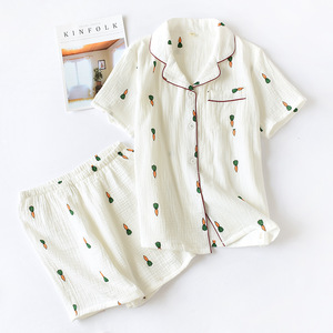 Image 4 - Double Layer Cotton Gauze Crepe Short Sleeve Shorts Pajamas for Women Plus Size Pyjamas Cartoon Printing Sleepwear Home Clothes
