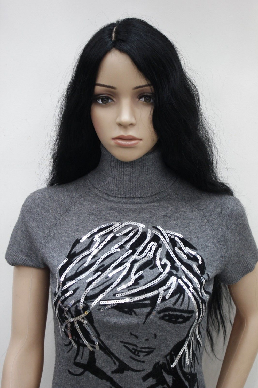 0000120 new high-end fashion no bangs long black curly wig