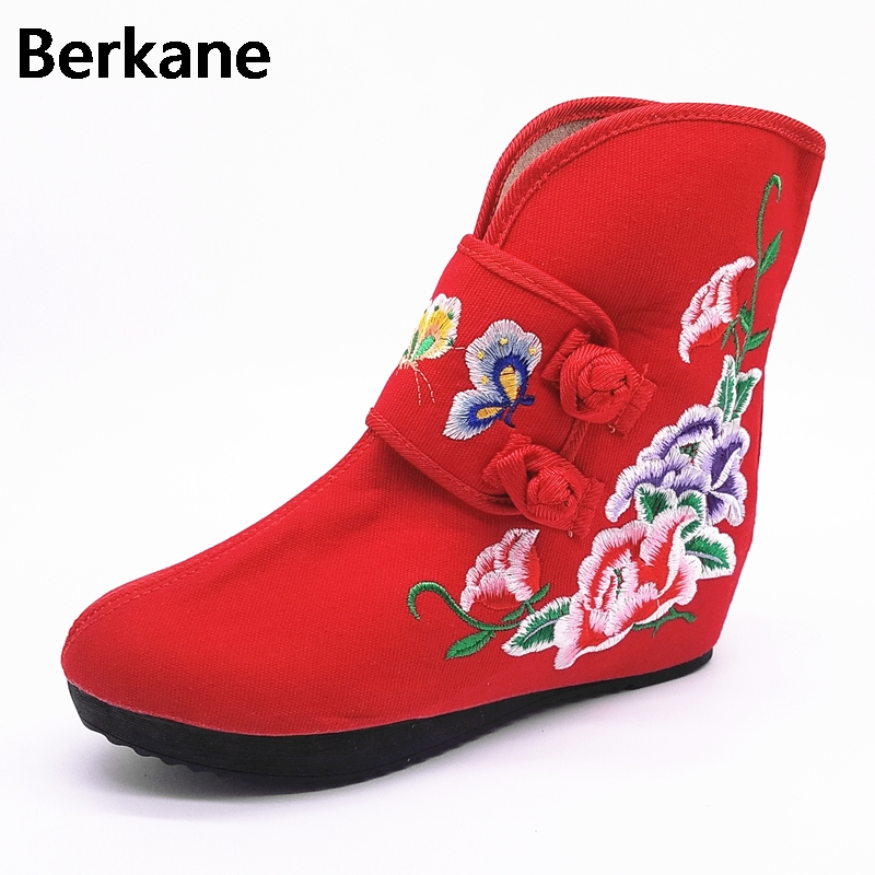 Butterfly Flower Chinese Style Red Embroidery Hidden Increase Boots Women Old Peking Shoes Ladies Slope Wedges Ankle Botas Mujer