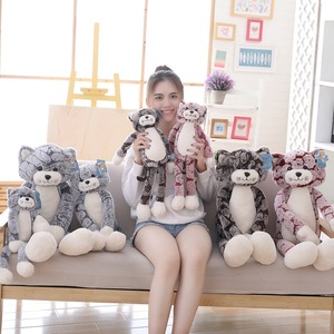 Image 4 - 50 cm 90 cm 고양이 플러시 장난감 검은 회색 고양이 플러시 장난감 사랑스러운 애니메이션 고양이 인형 어린이를위한 생일 선물 고양이 인형