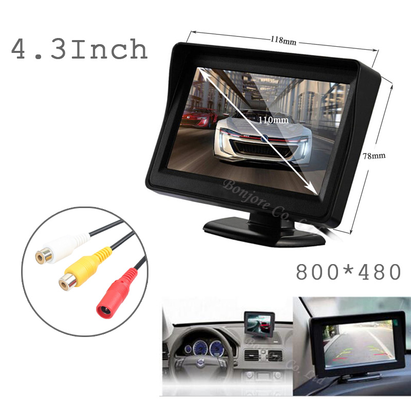 Koorinwoo Parking Assistance 4.3 TFT Screen player 800*480 Monitor Display For Car Reverse Camera VCR DVD System 2 video input