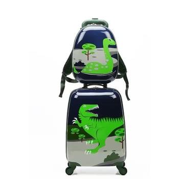 Letrend mignon Dinossauro roulant bagages ensemble Spinner enfants chariot enfants valise roues 18 pouces garçon porter sur Cartton tronc
