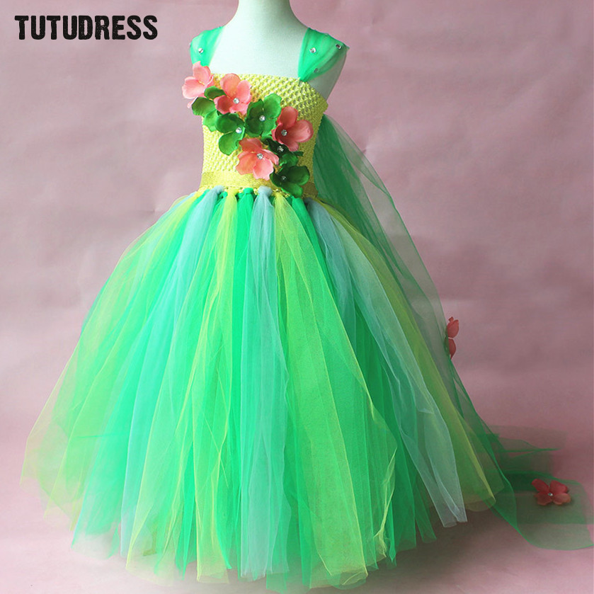 Green Flower Tutu Dress Children Girls Cosplay Princess Elsa Dress Kids Christmas Halloween Costume Girl Birthday Party Dresses children trolls poppy cosplay tutu dress baby girl birthday party dresses princess christmas halloween costume for kids clothes