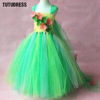 Green Flower Tutu Dress Children Girls Cosplay Princess Elsa Dress Kids Christmas Halloween Costume Girl Birthday