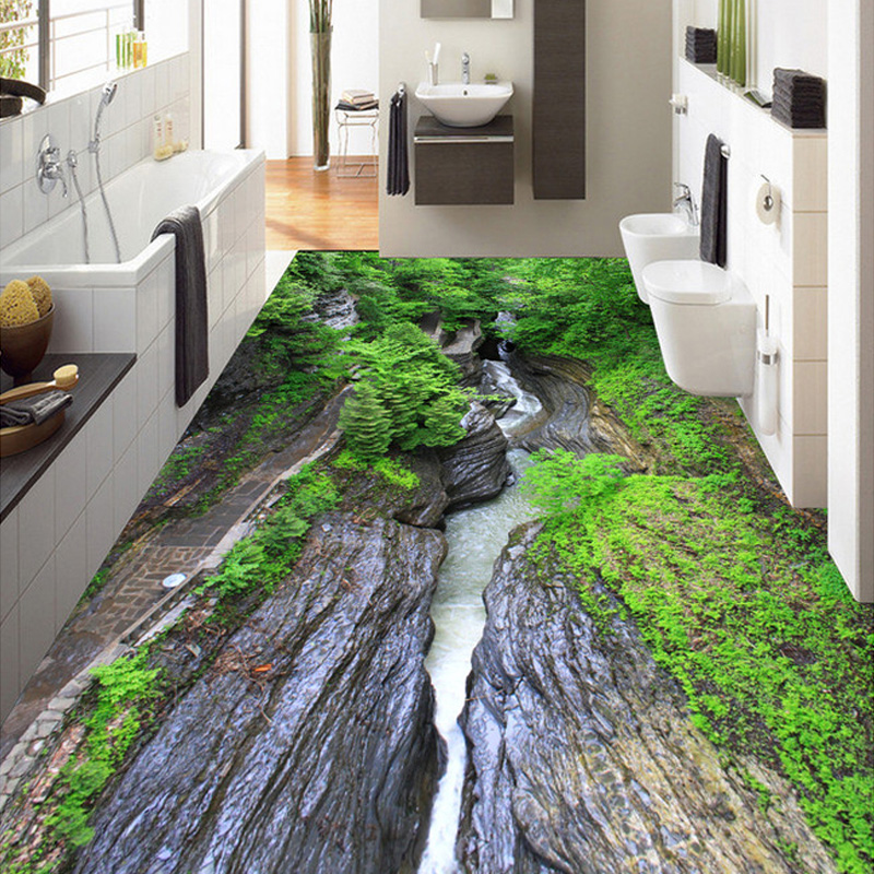 Custom 3D Room Nature Landscape Floor Wallpaper Canyon Running Water Mural Waterproof Self-adhesive Wear Non-slip Wall Papers free shipping chinese style bamboo water floor sticker high quality 3d custom mural non slip waterproof floor wallpaper