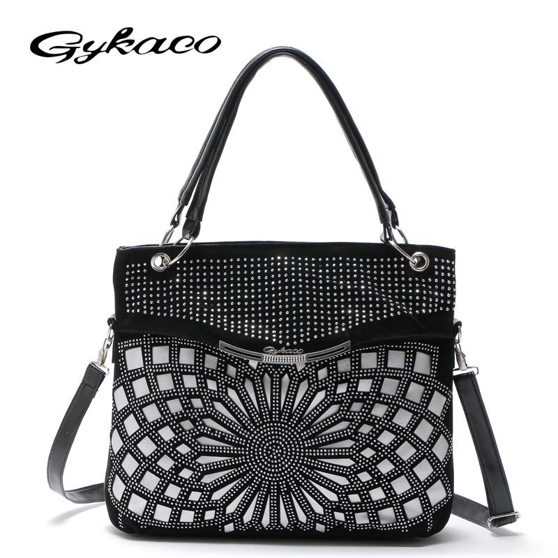 Gykaeo Designer Handbag High Quality Leather Large Capacity Shoulder Bags Handbags Women Famous Brands Messenger Bag Sac A Main women peekaboo bags flowers high quality split leather messenger bag shoulder mini handbags tote famous brands designer bolsa