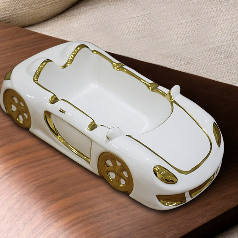 ceramic creative Sports car ashtray home decor crafts room decoration porcelain figurine Living room office ashtray decoration in Ashtrays from Home Garden