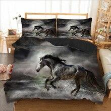 Black horse running Bedding set 3D Printing duvet cover bedding single twin full queen king size bedlinen