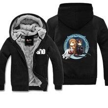 Mens Winter Anime Sword Art Online SAO Hoodie Coat Kirito and Asuna Printed Pattern Fleece Super Warm Jackets