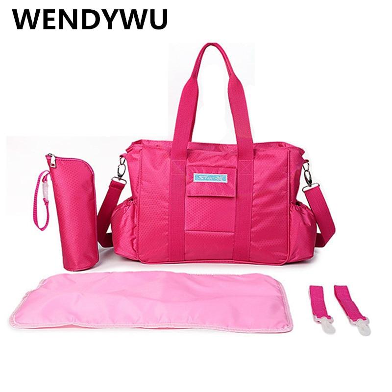 WENDYWU Fashion pink cute mummy bag fashion multifunctional high - capacity mummy bag maternal infant pregnant package