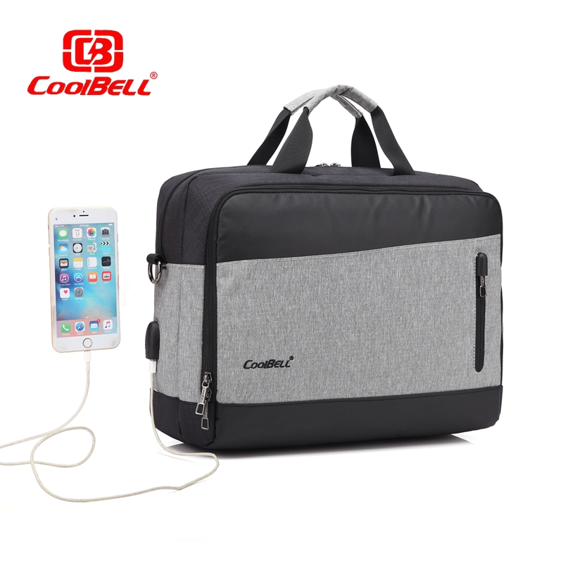 Cool Bell Waterproof 15 15.6 inch Laptop Bag for Men Women Notebook Computer Briefcase Shoulder Messenger Bag 2017 New USB Port notebook bag laptop messenger 11 12 13 14 15 for macbook air 13 case lenovo samsung dell asus waterproof travel briefcase