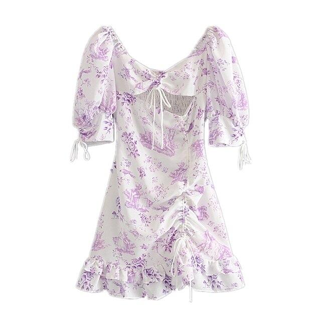Floral Print Puff Sleeve Dress 1