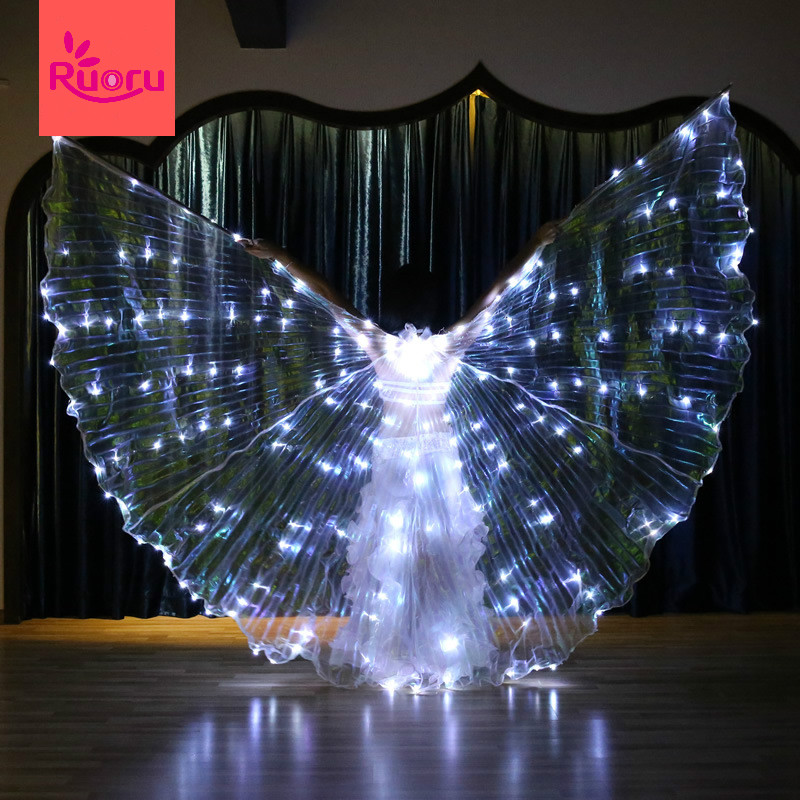 Ruoru Wings-Props Belly-Dance Shining-Wings Star-Series Led Isis White-Color Flickering