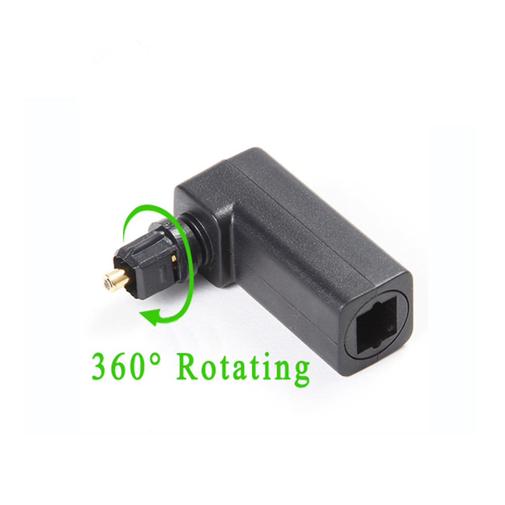 360 Degree Digital Fiber Optic Toslink Right Angle 90 Degree Female to 3.5 mm Mini Male Optical Audio Connector Adapter