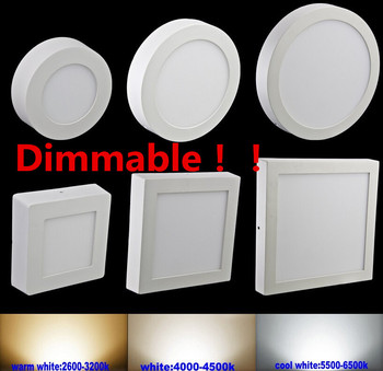 10pcs/lot Dimmable 9W 15W 25W Round / Square Led Panel Light Surface Mounted Led Downlight Led ceiling down lights AC110-240V