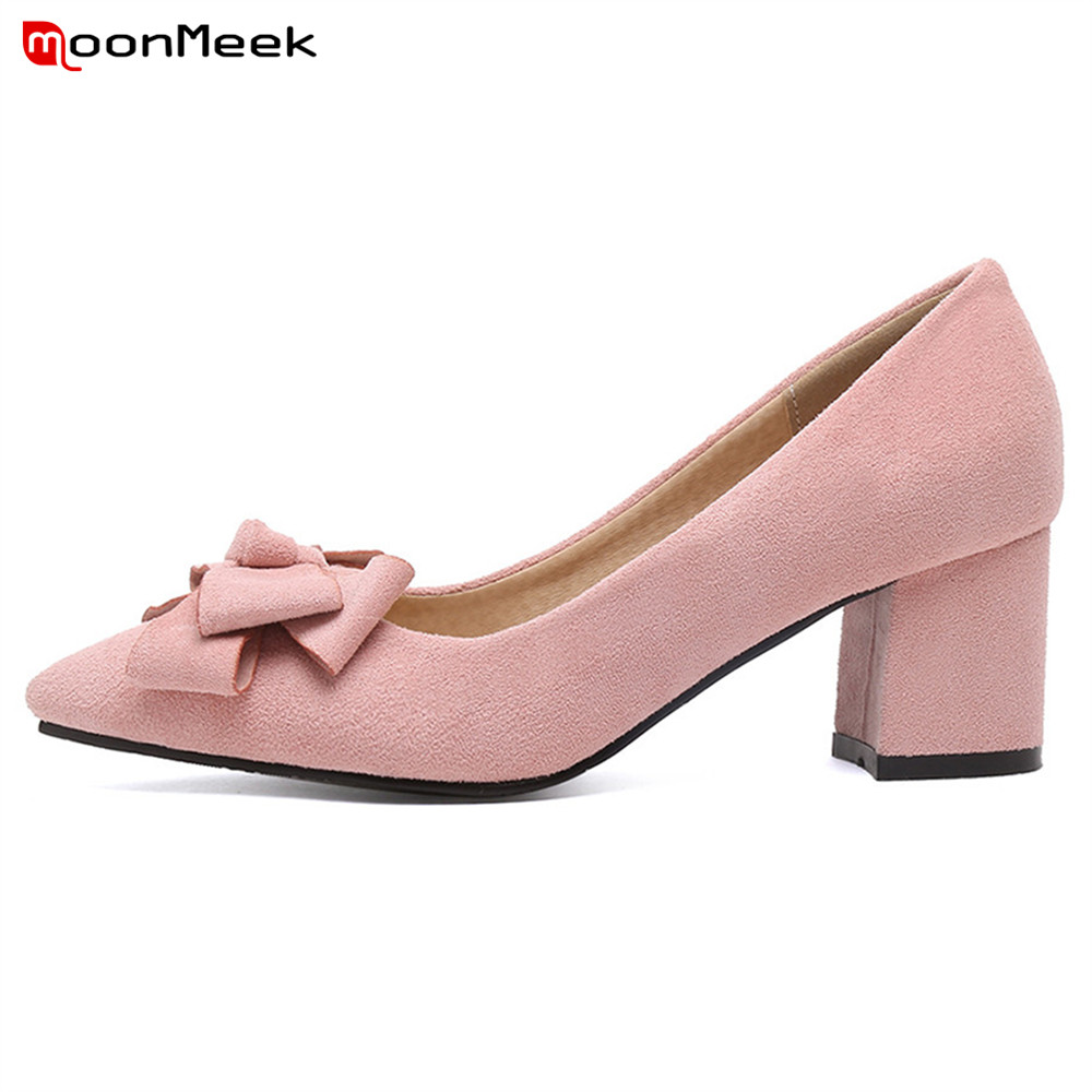 MoonMeek new prevail 2018 spring autumn pointed toe high heels women pumps shoes slip on square heel simple ladies shoes siketu 2017 free shipping spring and autumn women shoes fashion sex high heels shoes red wedding shoes pumps g107