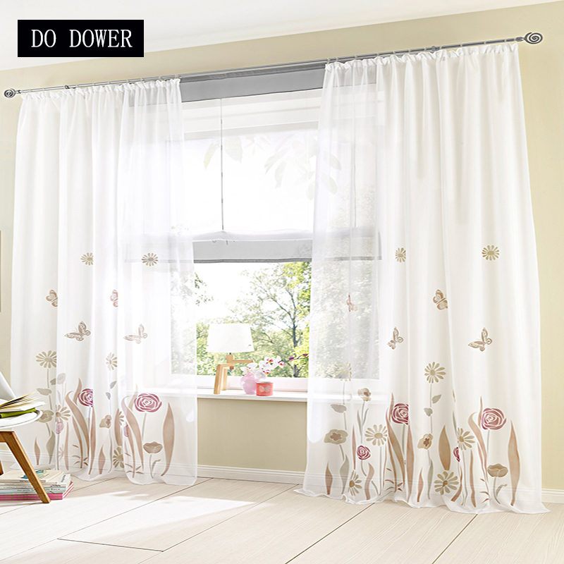 1 Panel Pastoral Embroidered Sheer Curtain Tulle Blind Cortinas For Living Room Bedroom Home window decor 2018 Hot Selling