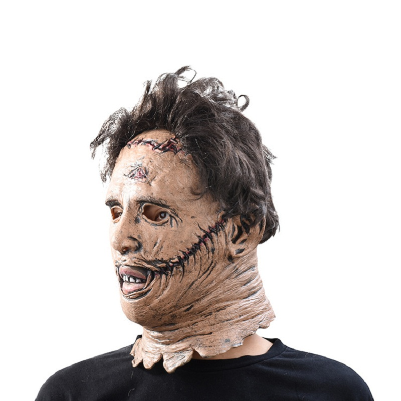 The Texas Chainsaw Massacre Leatherface Masks Scary Movie Cosplay Halloween Costume Props High Quality Toys Party Latex mask (5)