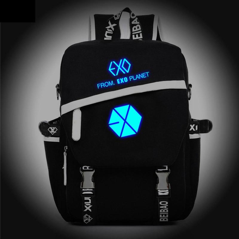 Új divat koreai noctilucent EXO hátizsák fiú lány iskolai - Hátizsákok