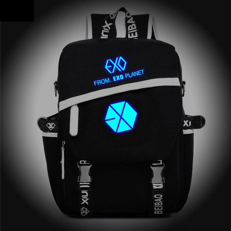 цены  New Fashion Korean Noctilucent EXO Backpack Boy Girl School Bags For Teenagers Casual Canvas Backpacks Travel Bag