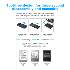"Image 5 - Hard Drive Enclosure, Portatile Box HDD SATA a USB 3.0 Adattatore per 2.5 ""External SSD HDD Caso"