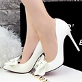 Fashion Sexy Women Pumps Pointed Toe with Bowtie Vintage Zapatos Mujer Shallow Mouth Thin High Heels Shoes