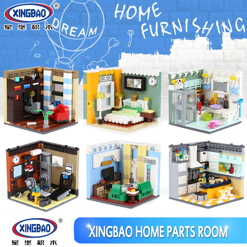 XINGBAO 01401 2116Pcs DIY Building Series 6 in 1 The Living House Set Building Blocks Bricks Educational Toys as Kids Funny Gift cheerlink zm 81 3mm neodymium iron diy educational toys set silver 81 pcs