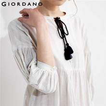 Giordano Women Dress Blouse Drawstring Puff Sleeve Quality Linen Cotton Dress Blusa Feminina Spring Autumn New Vestidos