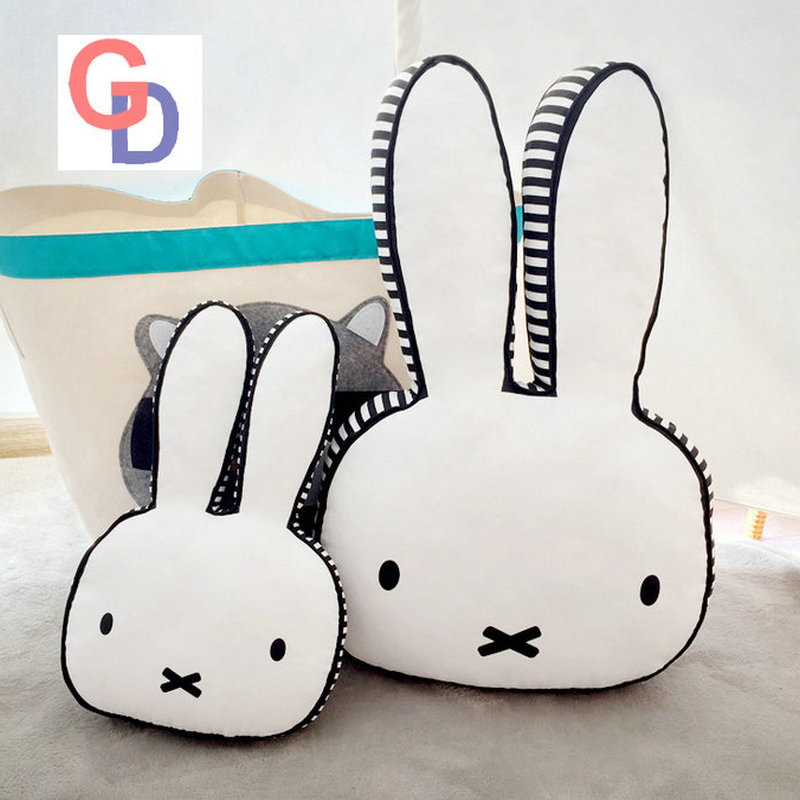 Ins hot Black and White Rabbit Face Plush Pillow Dog Milk Baby Bottle Plush Cushion Emoji