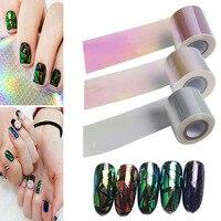 1 Roll 100m 5cm DIY Shiny Laser Holographic Broken Glass Nail Foil Paper Beauty Nails Sticker