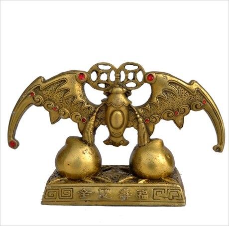! A bat Fu Shou Fu copper ornaments to enjoy both felicity and longevity more life to bat Peach Shaped Mantou ornaments