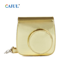 CAIUL Mini Camera Case for Fujifilm Instax 9 8 8+ Instant Film Premium PU Leather with Shoulder Strap Golden case