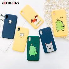 Funda linda de dibujos animados EKONEDA para iPhone XS Max XR 6 S 6 7 Plus funda Animal perro gato dinosaurio suave funda de TPU para iPhone 8 Plus X(China)