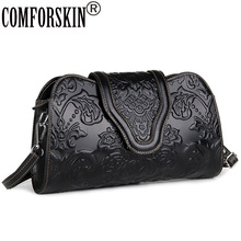 COMFORSKIN Luxurious Genuine Leather Travelling Messenger Bags New Arrivals European And American Vintage Rose Flower Handbag