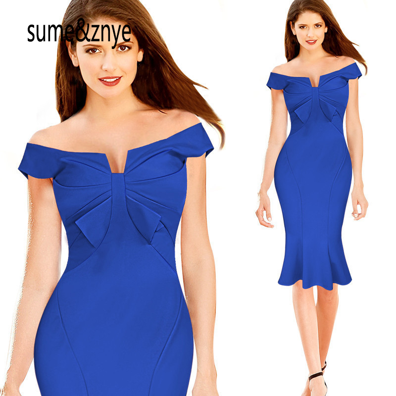 new 2018 summer womens fashion Sexy and charming girl blue red Slash neck Leak back folded blouse off shoulders Pencil dress