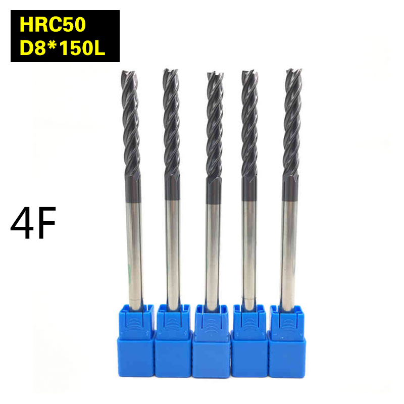 5PCS 4F-D8*150L HRC50 material Carbide Square Flatted End Mill 4flute mill diameter 8mm Highspeed milling machine Milling Cutter 5pcs 4f d6 150l hrc60 material carbide square flatted end mill 4 flute mill diameter 6mm high speed machine milling cutter