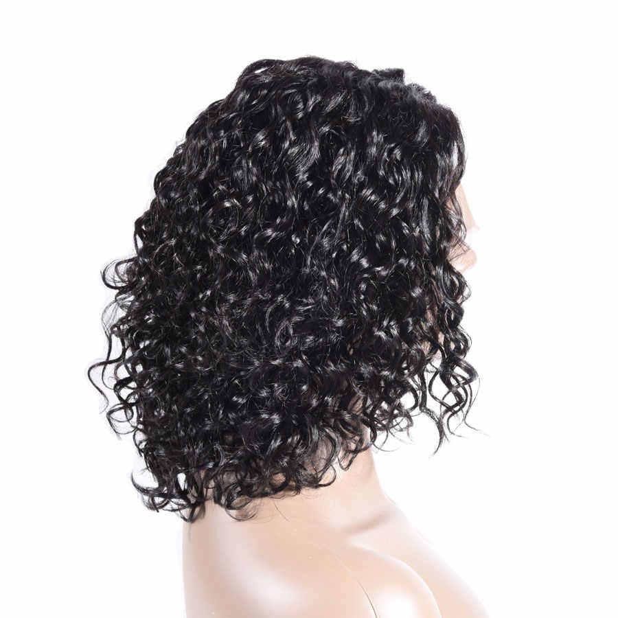 Water Wave peruka krótki Bob peruka lewa L część krótki ludzki włos koronki peruki dla kobiety brazylijski brazylijski Remy włosy 250 gęstość TIANTAI